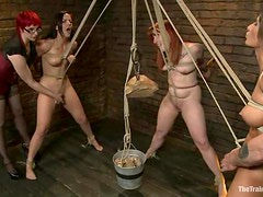 Wild BDSM with a lot of rope bondage and pussy plays