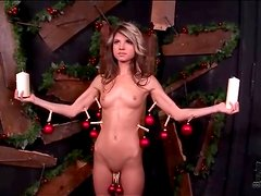 Skinny girl suffers pain and hot wax play