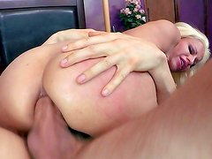 Busty blonde gets anal stimulated