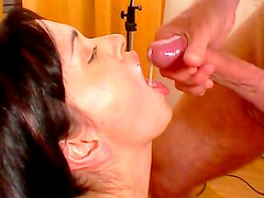 Busty gal loves swallowing cum