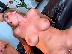 Busty milf in threesome action