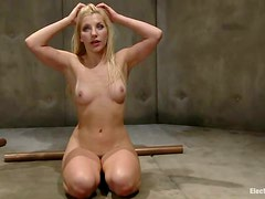Blonde Ashley Fires Toyed and Dominated in Bondage Lesbian Video