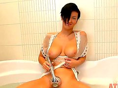 Turned on young Emlia Argan with natural juicy knockers and short black hair in white