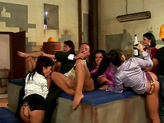 Magnetic nymphos get fucked by factory workers in group sex video
