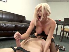 Blonde in stockings Kenzi Marie gives tugjob in 69 position