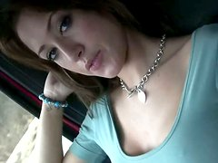 Cute brunette Bobbi is flirting with his dick while he drives a car