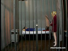 Blonde bitch Britnee has ardent anal sex with some dude in a jail