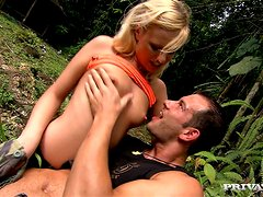 Yasmine Gold gets her mouth and ass smashed in the jungle