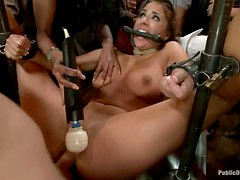 Evi Fox gets all her holes drilled hard by a group of men