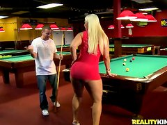 Awesome Hardcore Sex with Randy Blonde MILF Bedeli Butland on Pool Table