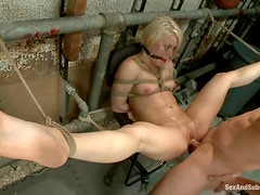 Ash Hollywood gets fucked in a basement in bondage vid