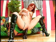 Horny babe fucking the mother of all dildos