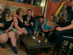 Fat chicks strip and suck on cock