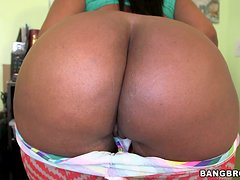 Ebony hussy Layla Monroe sucks and rubs a dick and gets facialed
