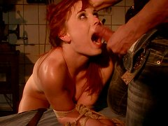 Red-haired harlot with big tits sucks the dick deepthroat