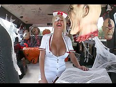 Halloween fuck inside the bang bus with a hot blonde
