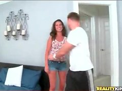 Brunette milf Delilah oiled up by her man