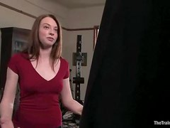 Amber Keen deepthroats a cock and gets fucked while being tied up