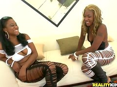 Playful ebony babes are having some fun with two dudes