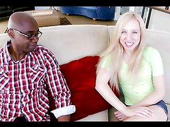 Slutty blonde's pummled by a monster black cock