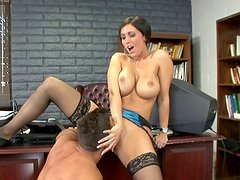 Stunning cougar Dylan Ryder is banged missionary style in the office