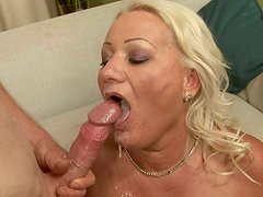 Ugly old bitch gets her anus hammered missionary tough on couch