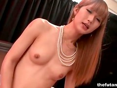 Skinny Asian tgirl fucks guy in the ass