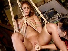 Cheesecake red-haired slut gets her muf dildo fucked while being suspended