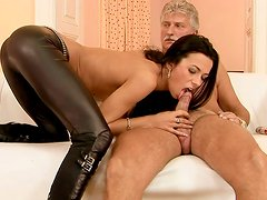 Delectable brunette whore gives an old fart a nice blowjob