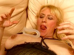 Chubby blonde whore gets her hairy snatch toyed hard