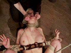 Submissive Cherry Torn gets hog tied and dominated