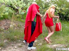 Slutty Donna Bell gets fucked on a bench outdoors