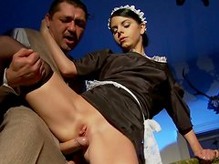 Sluttish brunette maid in black stockings gets her ass hole fucked