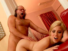 Seductive blonde girl is getting nailed hard doggy style in filthy old young fuck scene