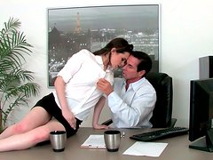Horny secretary seduces her boss in the office and gives him hot blowjob