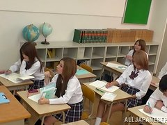Japanese School Girls Giving a Blowjob to a Classmate