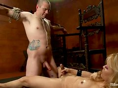 Hot BDSM session with a  cruel shemale siren