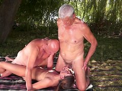 Old guys are fucking with shared young slut