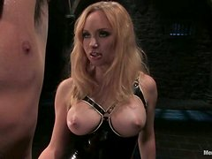 Torture and Pegging in Femdom Bondage Video with Aiden Starr