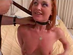 Red haired hoochie Donna Marie on a leash gets pussy finger fucked