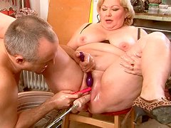 Bad ass granny Margarethe is getting fucked with sex machine