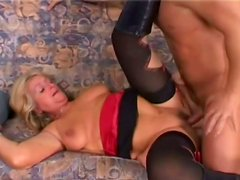 Big bottomed lustful mom rides stiff cock of one young dude