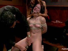 Submissive brunette girl gets tied up and fucked in public