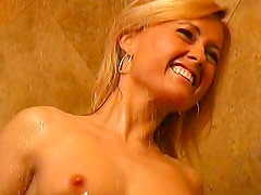 Blonde masturbating in the shower
