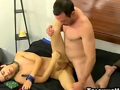 Mature guy ties up a twink and fucks his tight little ass