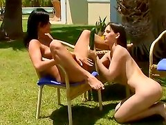 Eve Angel and her not less sexual girlfriend are spending nice time ouside in