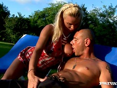 Afternoon Blowjob and Cock Ride Outdoors by Blonde Slut
