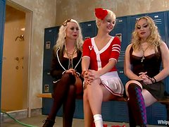 Four busty blond babes are in a hot BDSM group sex