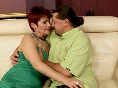 Disgusting pale short haired brunette mature whore rides a strong dick