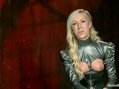 Blonde chick gets tied up with straps and dominated